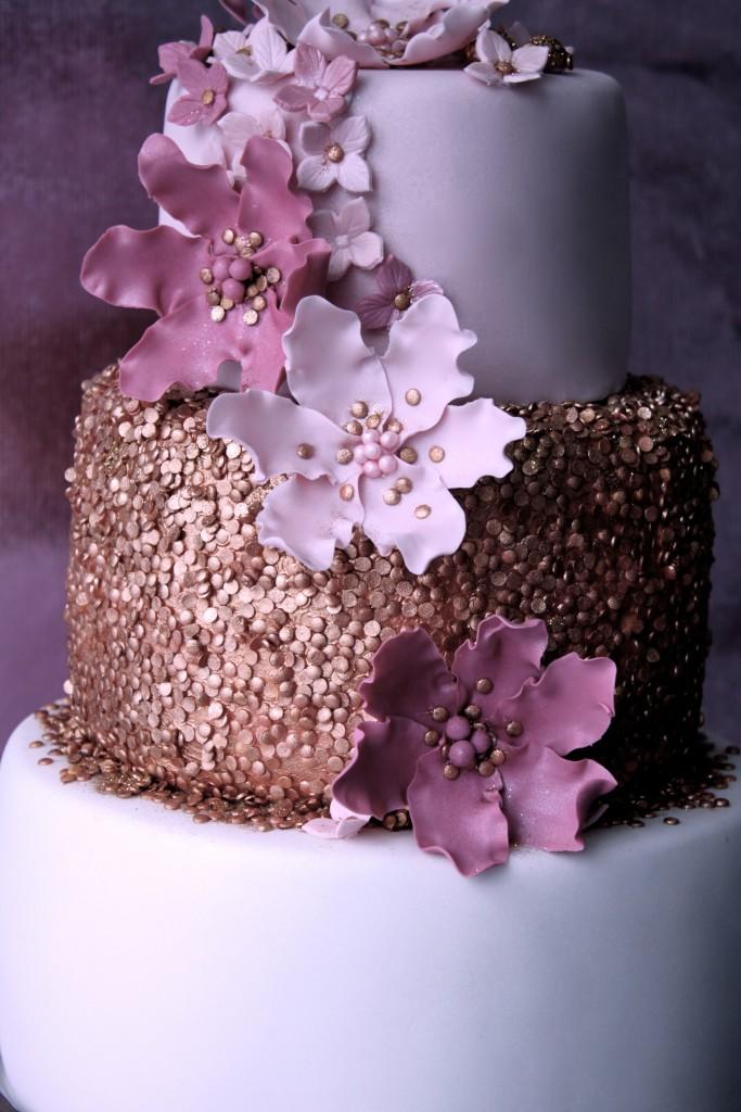 Hochzeitstorte Bronzekonfetti