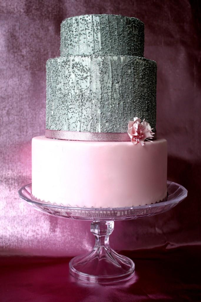 Hochzeitstorte Silberglitzer