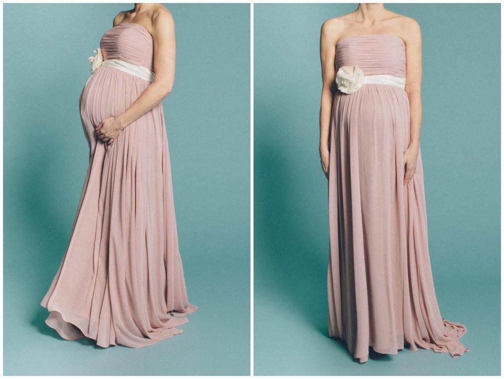 Schwangerschaftsbrautkleid in rosa schulterfrei