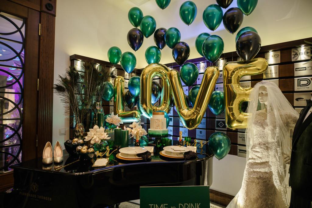 goldene Ballons Hochzeit