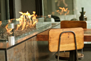 Burning Outdoor fireplace,chairs