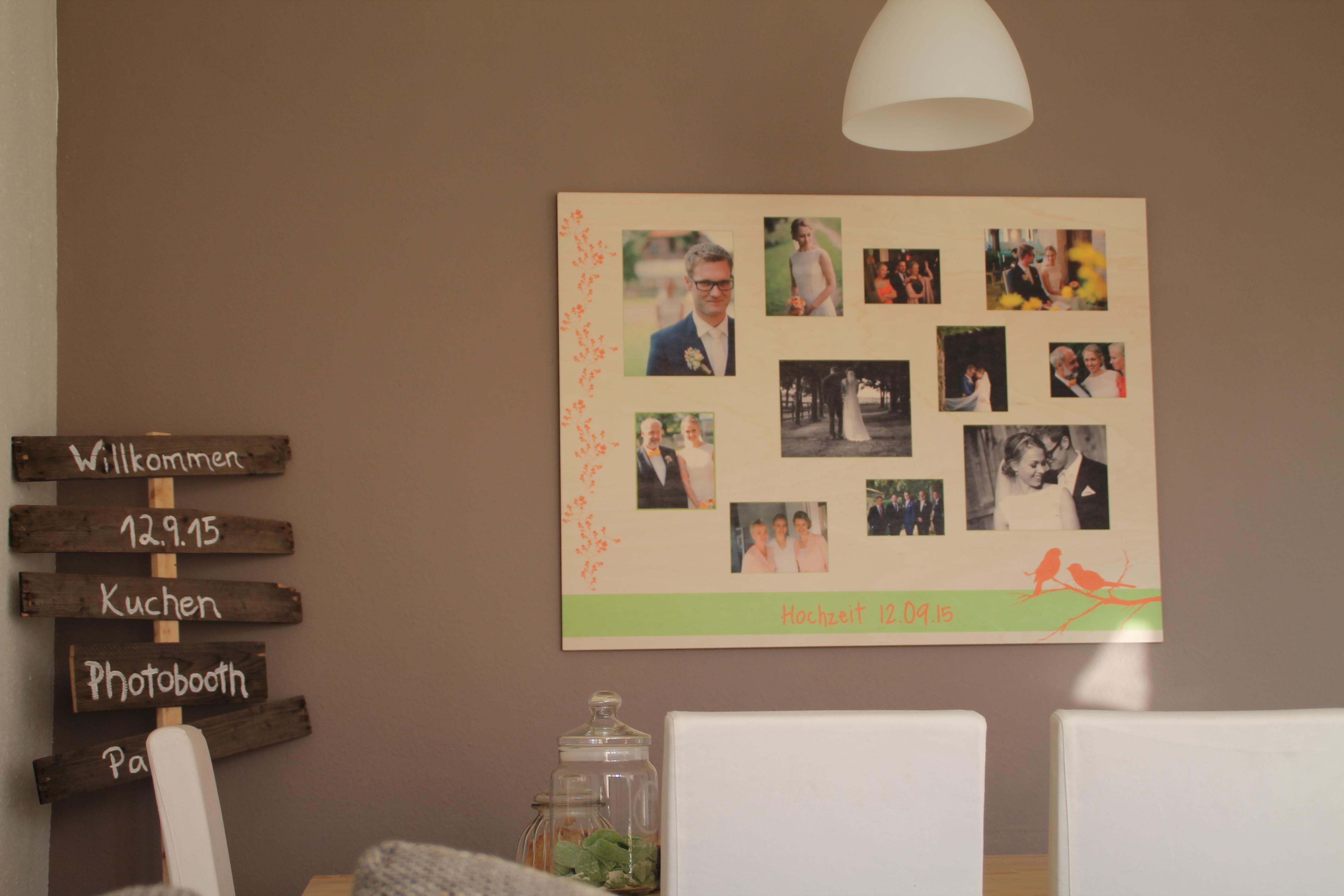 Holz Fotowand Hochzeitsbilder